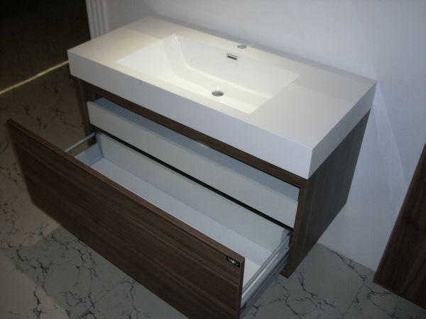 waschtisch 100 badezimmerm bel waschplatz nussbaum r badm bel waschbecken ebay. Black Bedroom Furniture Sets. Home Design Ideas