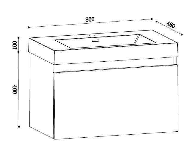 badezimmer waschtisch waschbecken mit unterschrank 80 cm eiche gekalkt ebay. Black Bedroom Furniture Sets. Home Design Ideas