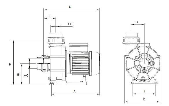 Gegenstromanlage 230V Pumpenmaß