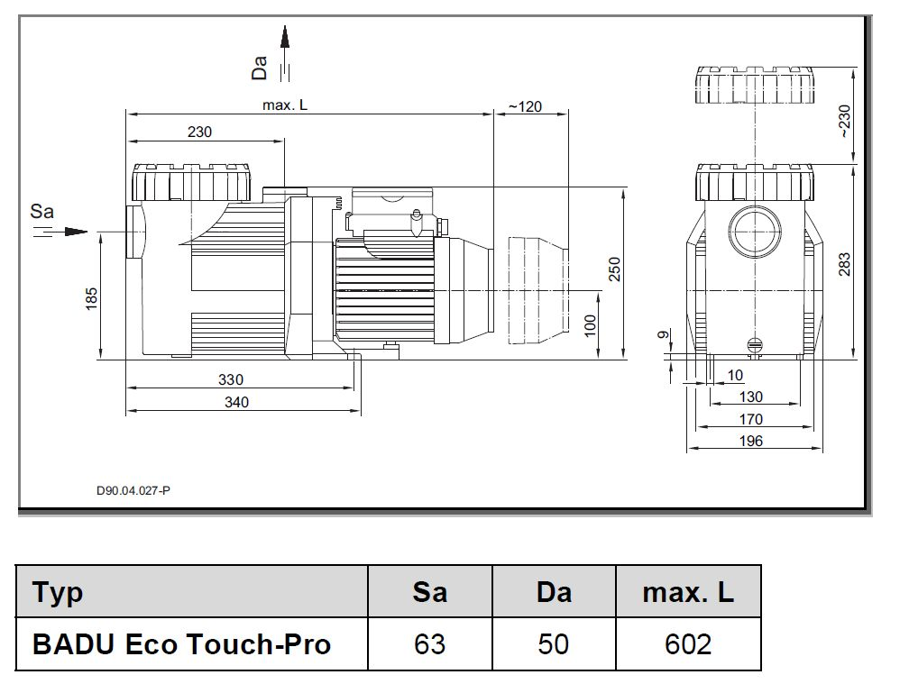 Abmessung SPECK Eco Touch Pro Pumpe