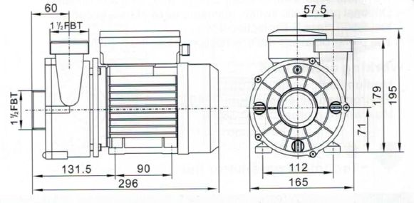 Whirlpool Pumpe JA50 Abmessung